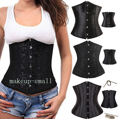 Lace Boned Underbust Corset Top Waist Training Shaper Bustier Basque Plus Size