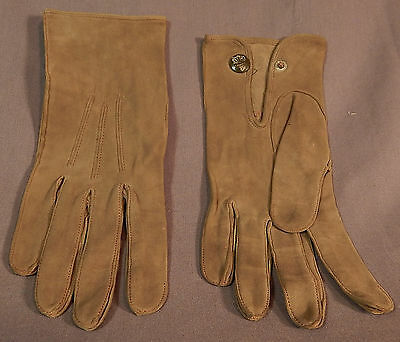 Edwardian Vintage Mark Cross Mens Gray Suede Leather Driving Gloves Size 8