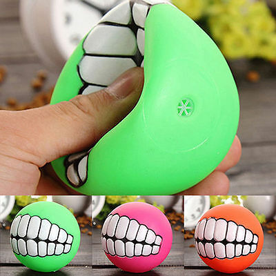 Pet Dog Ball Teeth Silicon Toy Chew Squeaker Squeaky Sound Dogs Play Toys Funny