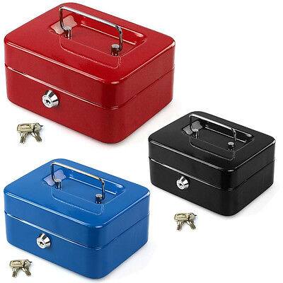 Metal Cash Box Money Bank Deposit Steel Tin Security Safe Petty Key Lockable