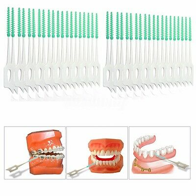 40Pcs Cepillos Interdentales Suave Oral Care Herramienta 2'' Hilo Dental Brushes