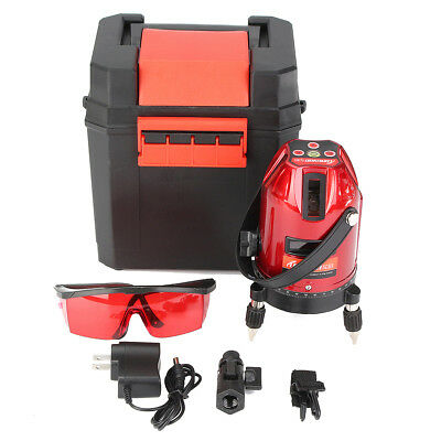 Auto 360° Self-Leveling 5 Line 6 Point 4V1H Rotary Laser Level Measure Kit