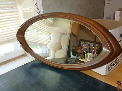 "Vintage Mid Century Modern Cat Eye 29"" Oval Horizontal/Verical Wall Mirror"