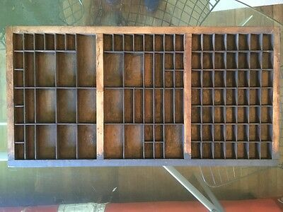 Large Vintage Printers Tray Type Set Letter Press Drawer Wood 32 X 17