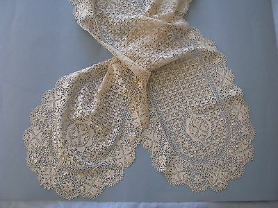 "LACE LAPPET SCARF VEIL SILK MALTESE ANTIQUE 19 TH C GORGEOUS  9"" x 76"" HAND DONE"