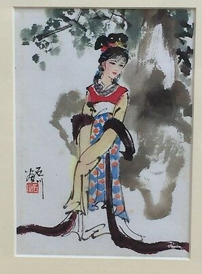 Vintage Chinese Watercolour Painting On Silk Art Picture Geisha signed & Framed