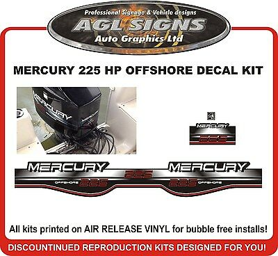 1994 - 1998 MERCURY 225 Offshore Outboard Decal kit  reproduction 200 hp