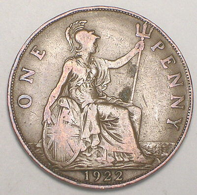 1922 UK Great Britain British One 1 Penny King George V Coin F+
