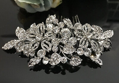 USA Seller wedding bridal crystal rhinestone silver tone hair comb 07081728