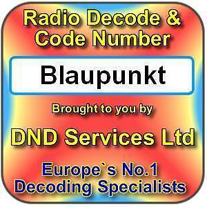 BLAUPUNKT RADIO STEREO CD Player Code Decode Unlock Service by Serial Number