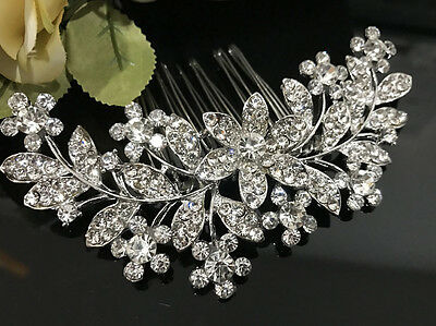 Beautiful flower wedding bridal crystal rhinestone silver tone hair comb 070837