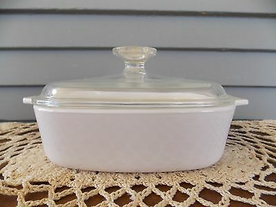 Vintage Corning Ware Winter White 1 Liter Casserole Dish with Glass Lid A-1-B