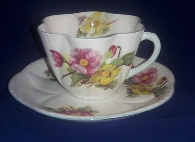 Shelley Begonia Fine Bone China from England ~ DaintyTEA CUP and SAUCER ~ #13427
