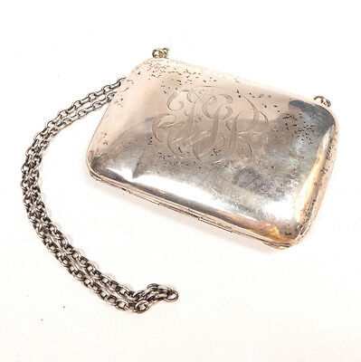 "Antique Monogrammed Sterling Silver w/ Leather Interior Purse 2.25"" x 3.25"""