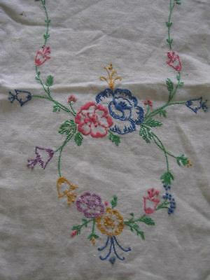 Vintage Hand Embroidery Embroidered Table Runner Dresser Scarf-12x38-Linen