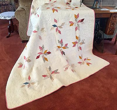 Awesome Antique 1800s Civil War Quilt Densely Hand Quilted Stars