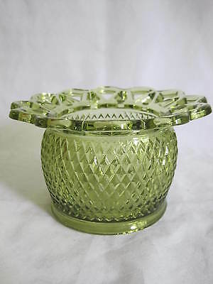 Imperial Glass Crochet Lace Edge Rose Bowl Vase Dish Green Diamond Point