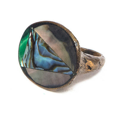 """Vintage Unique Large Oval Abalone Stone Brass Ring Size 8.25 .80"""""""