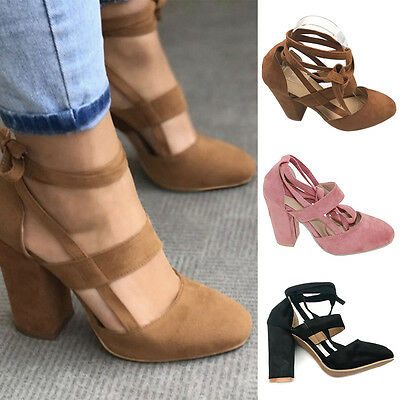 Women's Laidies Ankle Strap Suede Pointed Kitten High Heels Pump Shoes Party