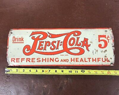 VINTAGE 1930's RARE EMBOSSED PEPSI COLA DOUBLE DOT 5 CENT SIGN ORIGINAL, ANTIQUE