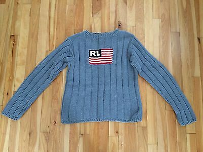 Polo Jeans Co Ralph Lauren Sz XL Kids RL Flag Sweater - Gray Ribbed Pattern