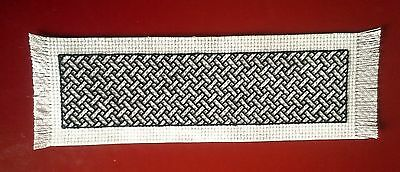 BOOKMARK - BLACK Braid on White - Completed Cross Stitch