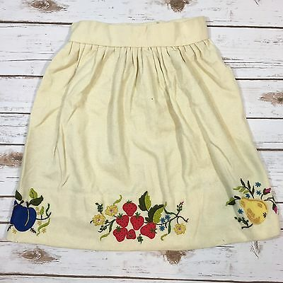Vintage Ivory Wool Embroidered Novelty Fruit Mini Skirt Fits Womens XS 0/2
