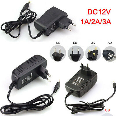 AC DC 12V 1A 2A 3A 110-240V Power Suppy Adapter Fast Charger Transformer LED