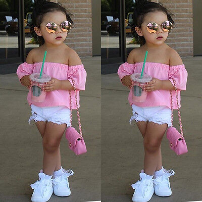Toddler Infant Baby Kids Girls Cotton T shirt Tee Tops Summer Casual Clothes
