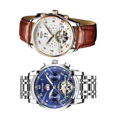 2Pcs KINYUED Men's Luxury Automatic Date Mechanical Tourbillon Wristwatch