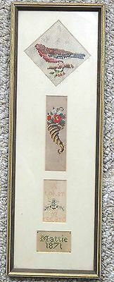 1871 antique SIGNED PAPER PUNCH SAMPLER cross stitch MATTIE ACKER chester co. pa