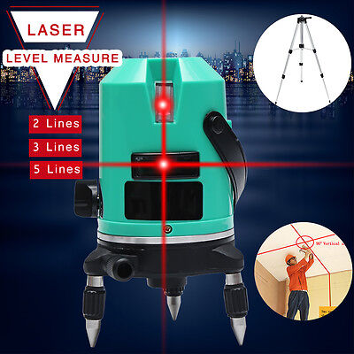 3D Red Laser Level 2/3/5 Line Self Leveling 360° Automatic Cross Measure Tripod