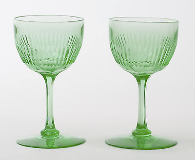 A Pair of Antique Edwardian Green Vaseline Glass Wine Glasses with Cut Stems
