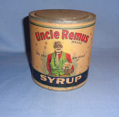1924 UNCLE REMUS SYRUP CAN / TIN PAPER LABEL 2 lbs 4oz. Robinson Syrup Co.