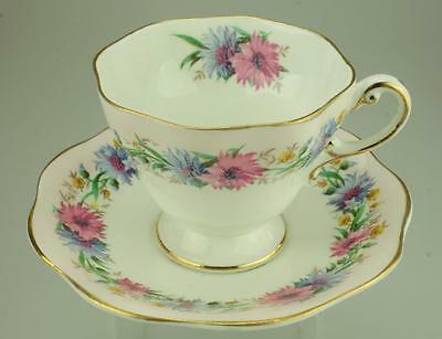 Foley Bone China Duo Footed Cup & Saucer Cornflower pattern with Pink Border BH6