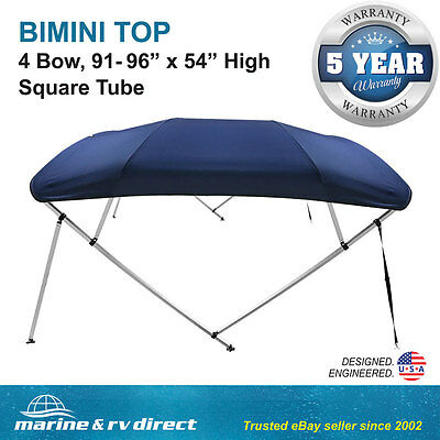 "Bimini Top Boat Cover Square Tube 4 Bow 54""h 91-96w 8 ft. Navy Blue"