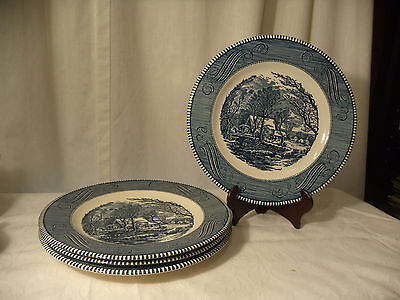 "Currier & Ives ""The Old Grist Mill"" by Royal Set of 4 Dinner Plates"