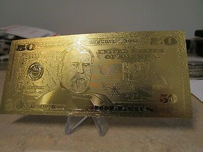 24 K Gold Foil $50 Bill ( Not Real Currency)