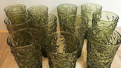 11 Vintage Anchor Hocking Green Lot Avocado Bumpy Crinkle Drinking 60s 70s Glass