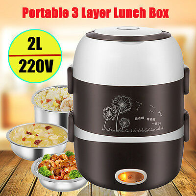Portable Electric Lunch Box 3 Layer 2L Steamer Pot Rice Cooker Stainless Steel