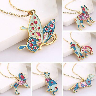 Women Cute Colorful Rainbow Animal Dog Butterfly Cat Pendant Necklace Jewellery