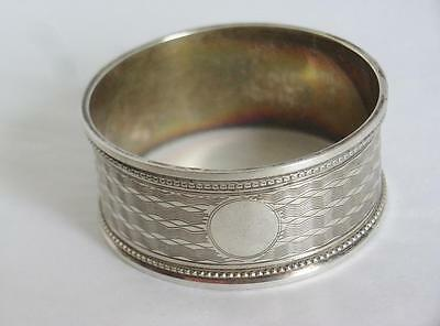 SUPERB 1920s SILVER NAPKIN RING HALLMARK CHESTER CHARLES PERRY BLANK CARTOUCHE