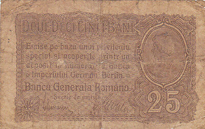 25 Bani Vg- Banknote From German Occupied Romania 1917!pick-M1