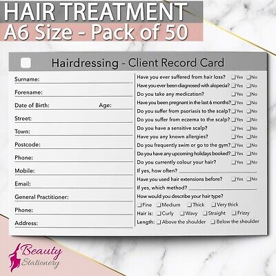 Hairdressing Client Record Card Treatment Consultation Therapists A6 / 50 Pack
