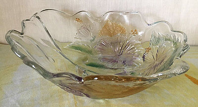 """11"""" Clear Glass Bowl Centerpiece Iridescent Gold Leaves Flowers Scalloped Edge"""