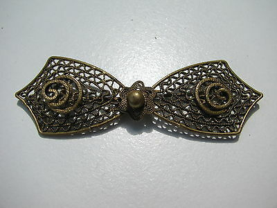Antique Vtg. Victorian Brass Bronze  Filigree Bow Brooch Stamped 202 C Clasp