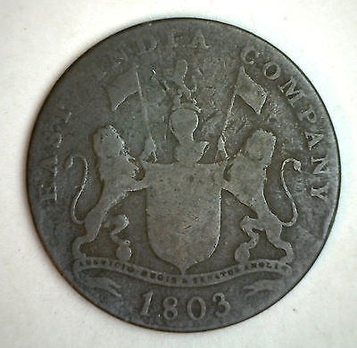 1803 Bronze India Madras XX Cash Coin F