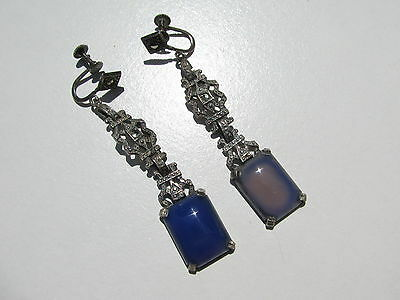 Antique Vtg.victorian Sterling Marcasite Blue Chalcedony Stone Screw Earrings
