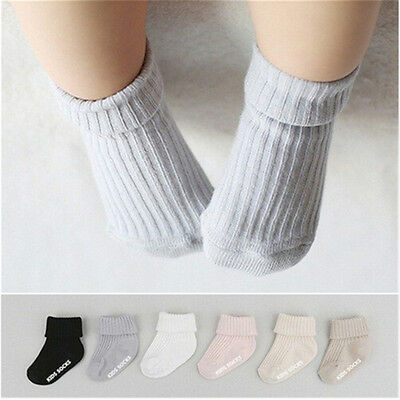 New Kids Socks Solid Color Cotton Baby Anti Slip Socks For Boy Girl Toddler BBUS