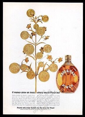 1963 Haig & Haig Pinch Scotch whisky Tiffany gold coin money tree photo print ad